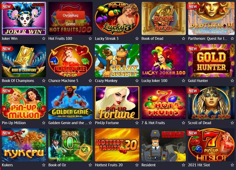 Pin-up casino slot maşınları